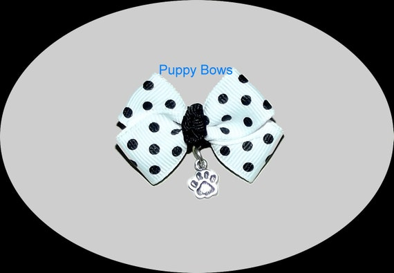 Puppy Bows ~ white black dots paw print charm dog pet hair bow - USA made and sold