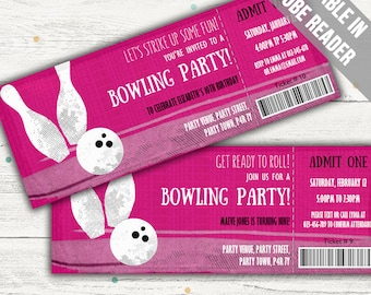 Bowling Party Invitation Instant Download. (Bowling Party Invitation For Girls). Editable PDF.