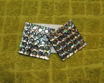 "EARRINGS SEQUIN Square Silver Pierced, Vintage, 1.25 x 1.25"" (#541)"