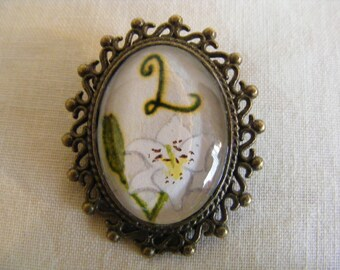 Alphabetic/ Initial Flower Brooch, Hand Painted with Bronze Tone Mount, All Letters Available.