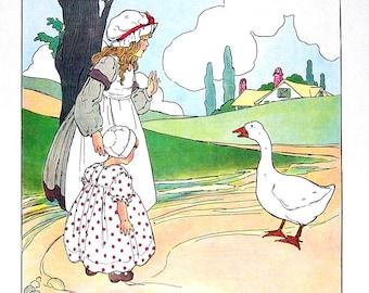 Goosey Goosey Gander - Mother Goose Print - 1989 Vintage Book Page - 9 x 11