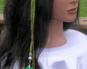 Braided Headband with Feathers - Green (HBnd-3) Free Shipping
