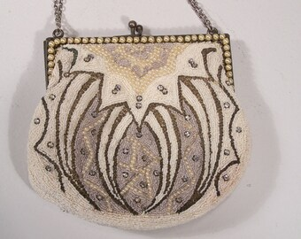 Art Deco Pearl, Rhinestone and Very Tiny Seed Bead Formal Evening or Bridal Purse
