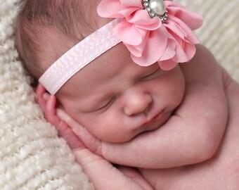 Pink Baby Headband, Pink Headband, Pink Flower Girl Headband, Pink Birthday Headband, Pink Chevron Headband, Pink Newborn Headband