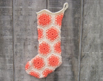 SALE! Ivory Crocheted Granny Square Christmas Stocking with Coral and Peach Accents