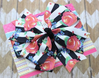 Floral Hair Bow - Black White Stripe Floral Hair Bow - Back to School Hair Bow - Toddler Hair Bows - Girls Hair Bows - 5 Inch Hair Bows