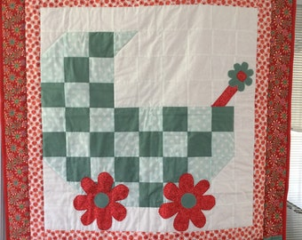Baby Buggy Quilt. little girl quilt, baby, quilt, red quilt, green quilt, baby quilt, baby blanket, blanket