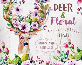 Deer & floral. Watercolor  DIY. Boho style. Hand painted clipart for your wedding invitation,reeting cards, quotes, blogs, posters and more.