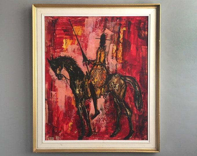 "Pierre Mas ""Don Quixote""  framed oil / Gouache"