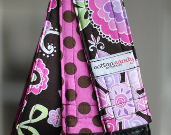 Purple Flowers and Dots Reversible Camera Strap