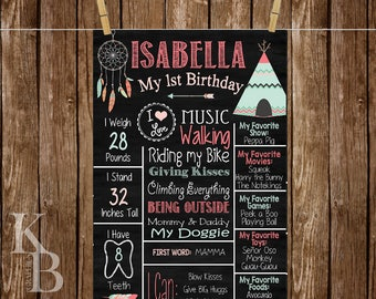 Native American First Birthday Chalkboard Poster Sign for Birthday Parties Customized Custom Printable File - Indian Native American