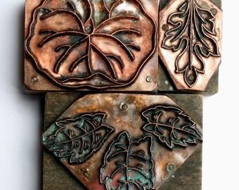OUTLINE Group 1903-1953 Antique GERMAN Copper Letterpress Cut printing block Foliage Leaves Leaf