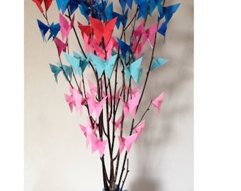 Baby shower centerpiece origami butterflies birch branches