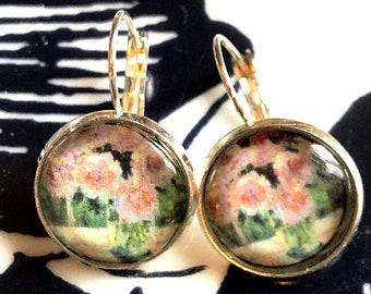 Monet's Roses cabochon earrings- 16mm