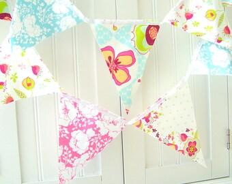 Wedding Banner, Bunting, Fabric Pennant Flags, Bridal Shower, Polka Dots, Pink, Aqua Blue, Lime, Birthday Party, Baby Shower, Nursery Decor