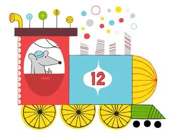 TRAIN ENGINE : 8x10 inch, 5 color screenprint