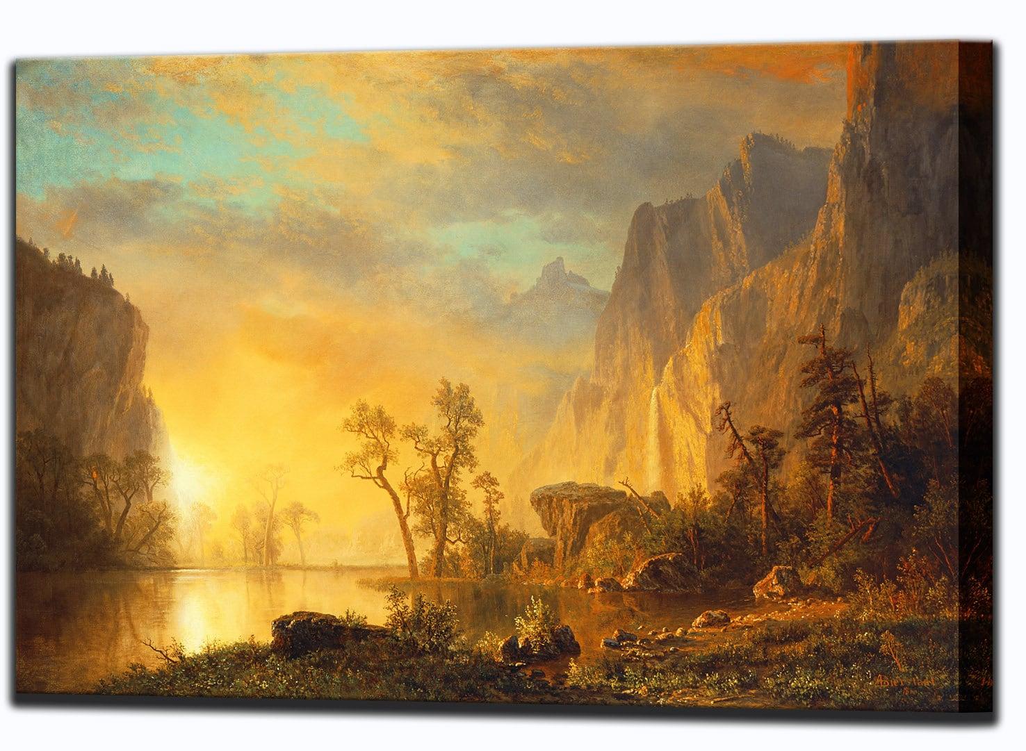 Albert Bierstadt Sunset in the Rockies Rocky Mountains Canvas