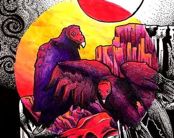 vultures know how to have a good time: ink and color pencil print