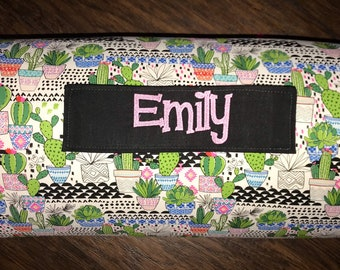 """Children's Nap Mat in Cactus flowers fabric with Pillow, Minky Blanket and 1"""" memory foam"""