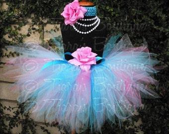 Pink Blue Tutu, Custom Sewn Tutu and Headband, Birthday Tutu Set, Photo Prop, Bubblegum Sweetness