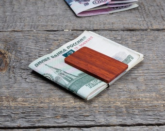 Wood Money Clip, Wood Gifts for Boyfriend, 5 Year Anniversary for Him, Groomsmen red wood  Money Clip, personalization Boyfriend Christmas