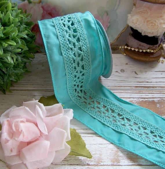 Teal Crochet Ribbon, Wired Ribbon, Crocheted Ribbon, Shabby Style ...