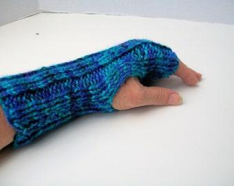 Womens Fingerless Gloves, Turquoise, Navy Blue, Purple