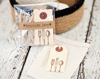 Vintage Silverware Tags - set of 10, silverware, kitchen, gift tags, housewarming, gift supplies, lets eat, cooking tags