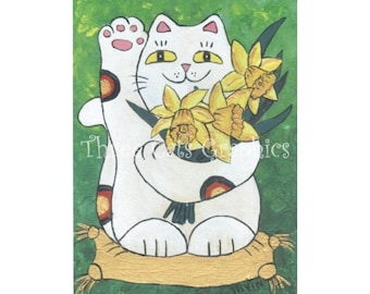 Daffodil Neko Lucky Cat - Choose from ACEO Print, Note Card with Stickers, or Art Print