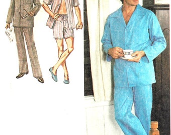 1970s Pajamas Pattern Front Button Long Short Pants Simplicity Vintage Sewing Men's Size Large Chest 42 - 44 Inches