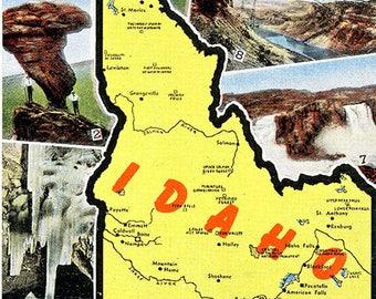 Idaho State Map Multi View Vintage Postcard (unused)