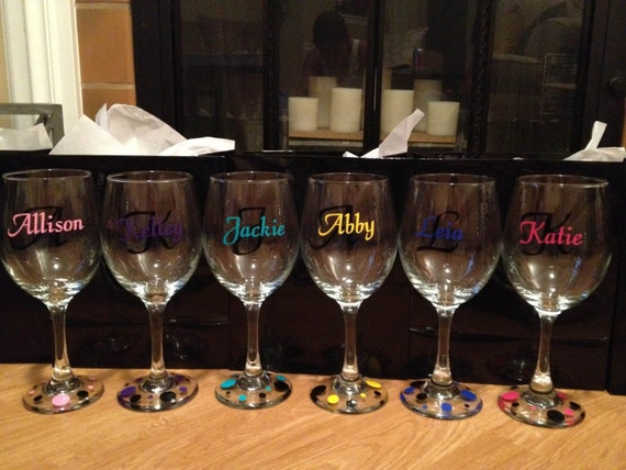 Items Similar To Custom Vinyl Wine Glass Decals Bridal Party On Etsy - Custom vinyl decals for glass