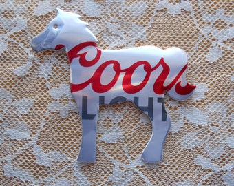 Coors Light Horse Soda Can Magnet or Ornament, made from any beverage can