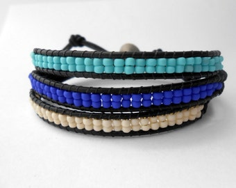 Leather Wrap Bracelet, Leather Wrap, Turquoise Bracelet, Wrap Bracelet, 3 Wrap Bracelet, Stacked Bracelet, Layered Bracelet, Boho Bracelet