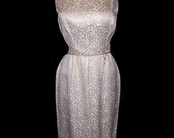 Vintage 50s pinup metallic gold brocade wiggle dress M L