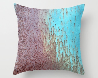 Photo Pillow Cover Decorative Metal Pillow Rustic Pillow Cover Rust Pillow