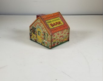 Vintage J. Chein Tin Litho Three Little Pigs Bank Coin Bank House Blackie Pig