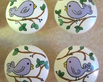 Set of 4 PURPLE BIRDIES Birds - Hand Painted Wooden Knobs Pulls