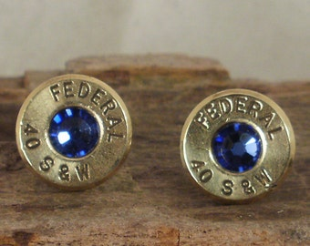 Bullet  Earrings  - Stud Earrings - Ultra Thin - Federal 40 S&W - Sapphire