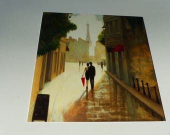 map couple Eiffel Tower Paris romance Street and splash of Red