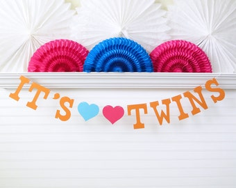 It's Twins Banner - 5 Inch Letters with Hearts - Twin Baby Shower Twins Shower Decor Twins Garland Twins Baby Banner Twins Baby Shower Decor