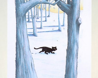 Stalking Cat in Snow Greeting Card