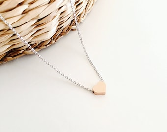 Rose gold heart necklace, tiny necklace, minimalist necklace, gift jewelry, silver necklace