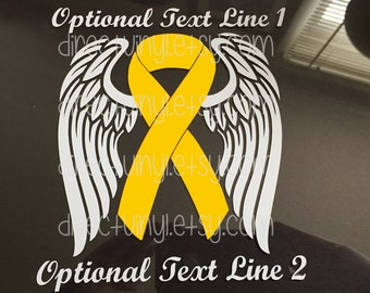 Yellow Awareness Ribbon Angel Wings Window Decal (Spina Bifida, Adenosarcoma, Ewings Sarcoma, Liver Cancer, Liver Disease, Endometriosis