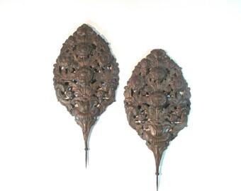 Pair of Belgian 18th Century Brass Repoussé Flame Shields Reflectors
