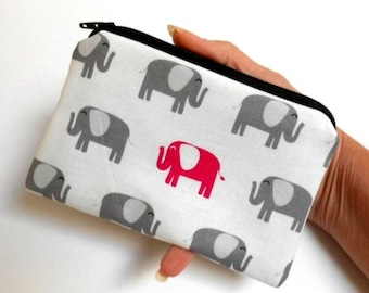 Small Coin Purse Little Zipper Pouch ECO Friendly Padded Coin Purse Elephant Walk
