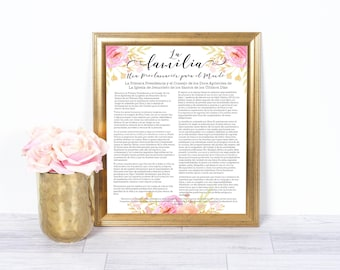 LDS Spanish Family Proclamation, LDS Prints Home Decor, Spanish Familia, Mormon Printables, Mormon Family Proclamation, LDS wall art prints
