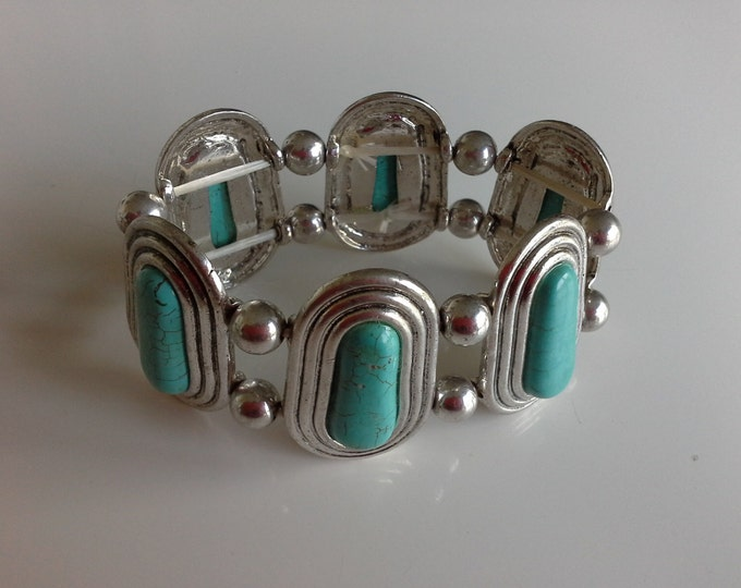 Vintage Turquoise & Silver Tone Stretch Bracelet Egyptian Revival