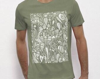 Hand Screenprinted T-shirt / Leaves / Light khaki