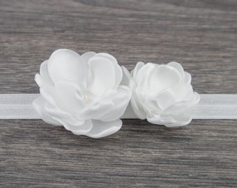 Ivory White Christening Headband - Baby Headband - Baptism Headband - Fabric Flower Girls Headband - Baby Girl Headband - Newborn Headband